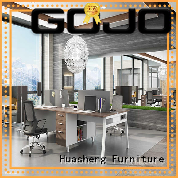 long office staff desk with side lock drawer for office GOJO