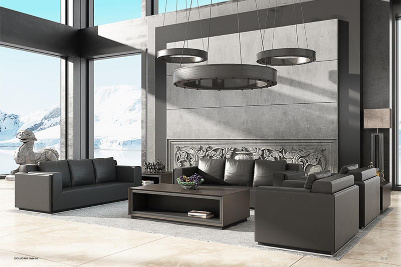 YUCHE RECEPTION SOFA Leather Couch Set