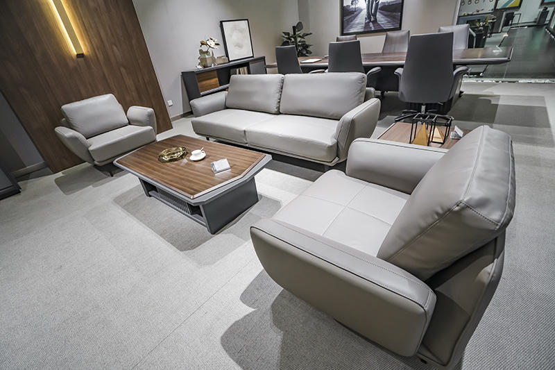 Real Leather Sofa Set CEO Office Reception Sofa Three Seater