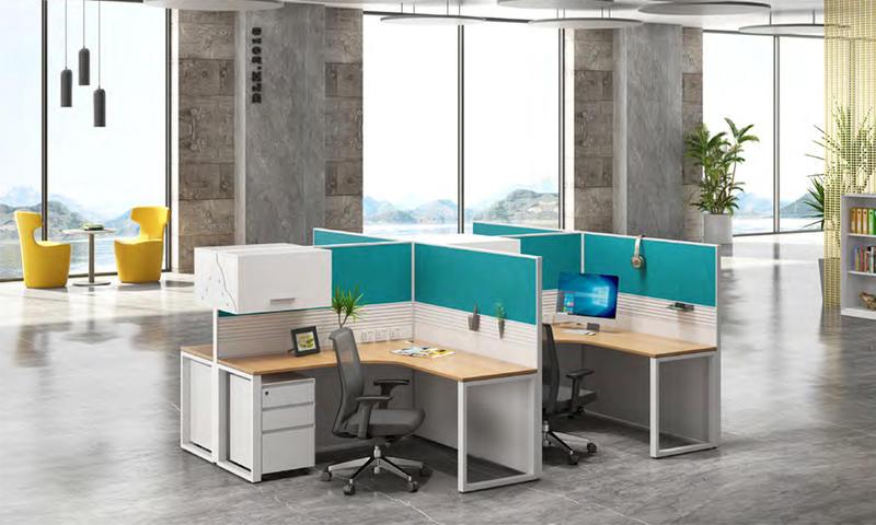 L-shape Workstation with Partition Panel