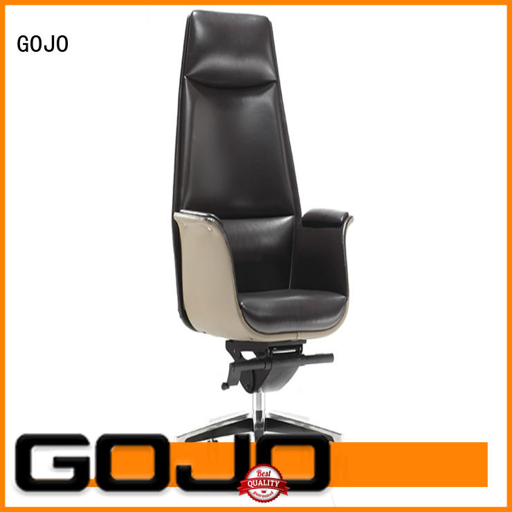 GOJO brown office chair with five-star movable foot for boardroom