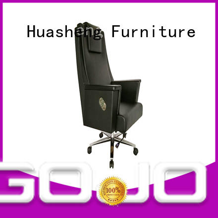pu black office chair with aluminium foot for executive office