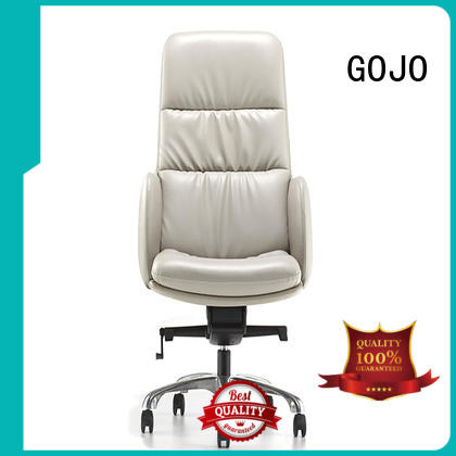 GOJO calvin black leather executive chair with new white paint feet for boardroom