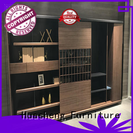 Custom room divider with storage for executive office